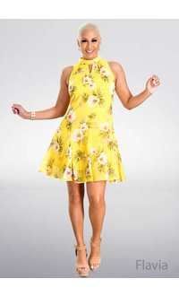 FLAVIA- Floral Print Mock Neck Dress