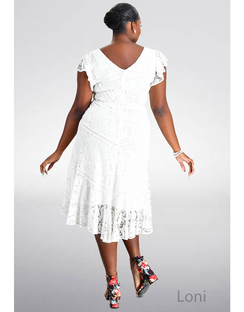LONI- Lace Dress with Soft Ruffles