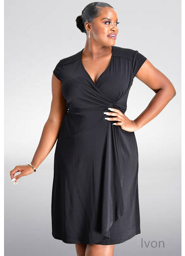 Robbie Bee IVON- Cap Sleeve Faux Wrap Dress