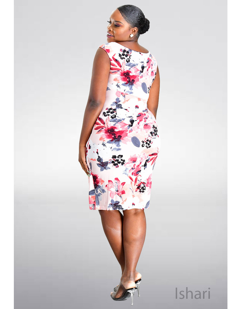 ISHARI- Printed Faux Wrap Dress