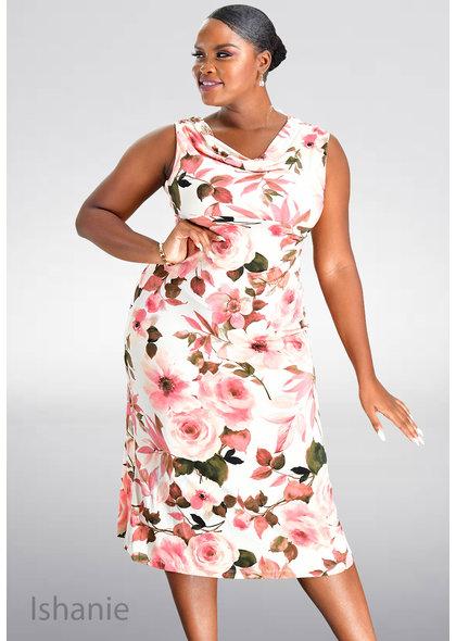 ISHANIE- Floral Print Cowl Neck Dress