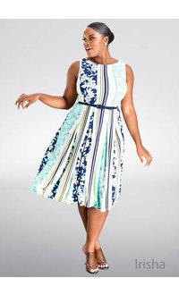 IRISHA- Printed Dress with Belt at the Waist