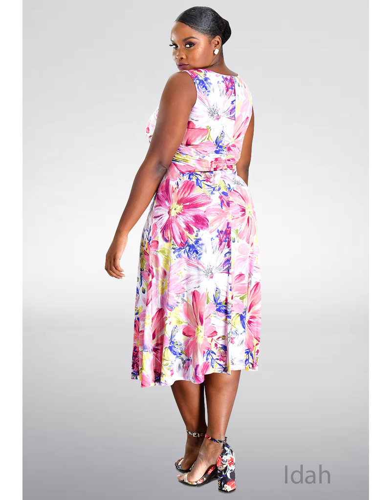IDAH- Printed Dress with Ruching at Waist