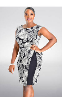 ISHERA- Puff Print Sheath Dress