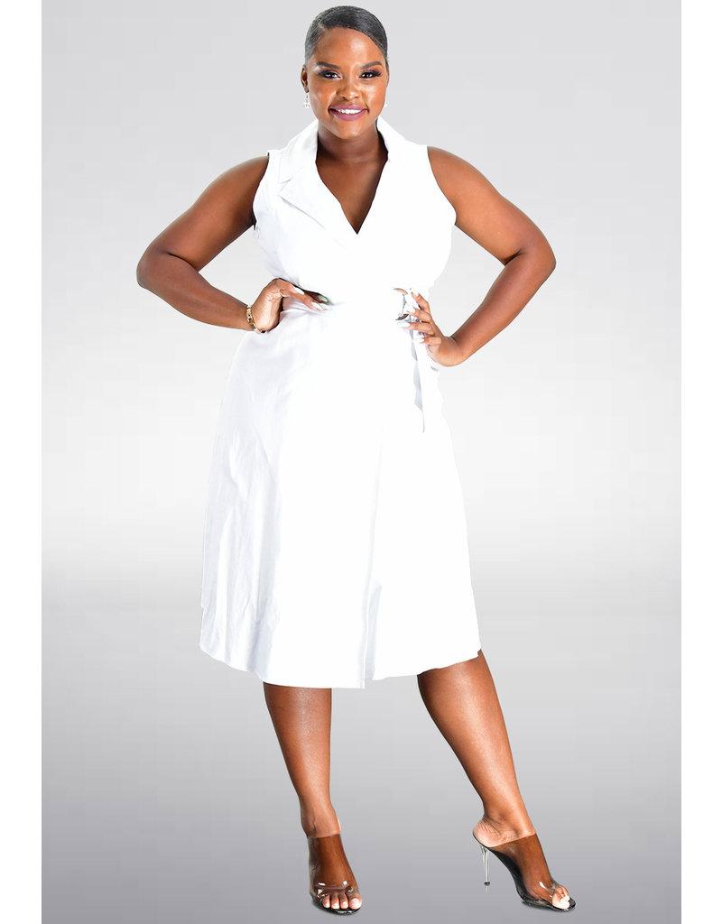 KALEB- Faux Wrap Dress with Buckle