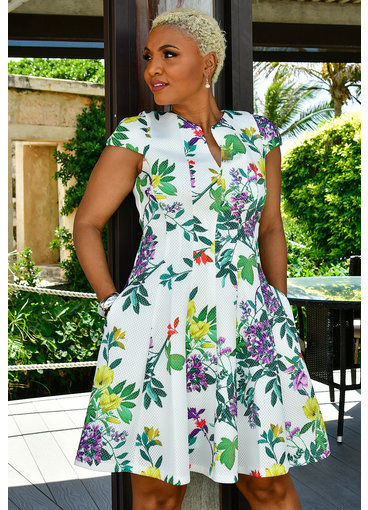Julia Jordan XAVY- Printed Dress with Princess Seams