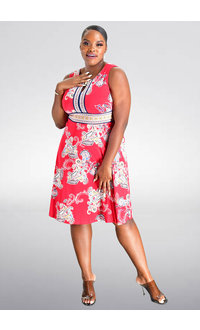 Sandra Darren IPEN- Printed Fit and Flare Dress with Keyhole