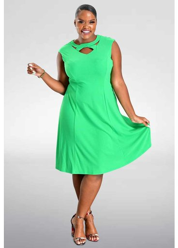ISAN- Keyhole Fit and Flare Dress