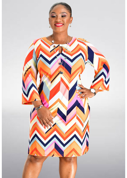 Sandra Darren INAM- Printed Three Quarter Sleeve Dress
