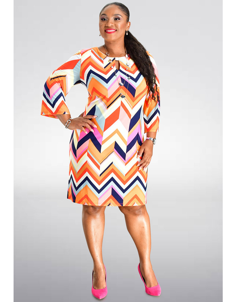 Sandra Darren INAM- Printed Three Quarter Sleeve Dress