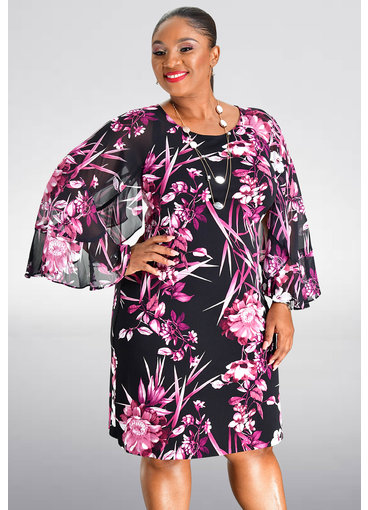 FABIANN- Printed Three Quarter Sleeve Dress