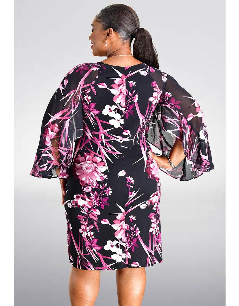 FABIANN- Printed Three Quarter Sleeve Dress