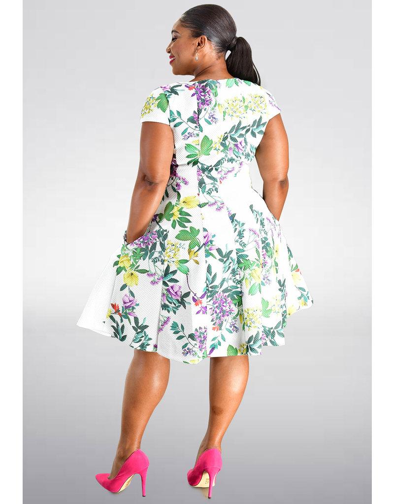 Julia Jordan XAVY- Printed Dress with Princess Seams