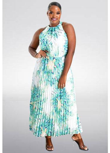 Sandra Darren FABB- Printed Halter Steam Pleat Dress