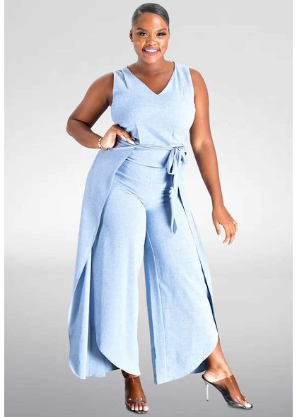 Julia Jordan KENZ- Sleeveless Jumpsuit  with Tie at Waist