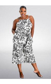 NIYA- Strappy Floral Print 3/4 Jumpsuit