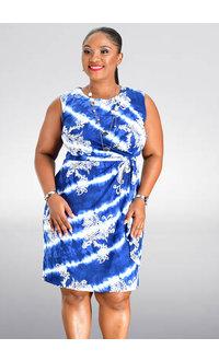 Sandra Darren IGGAN- Tie Dye and Print Faux Wrap Dress