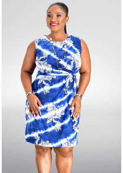 Sandra Darren IGGAN- Tie Dye and Print Faux Wrap Dress