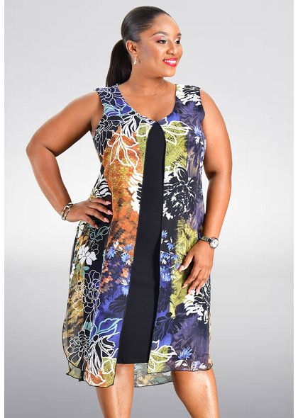 FEANN- Printed Layered Dress