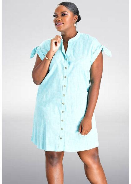 KARTER- Cap Sleeve Shirt Dress