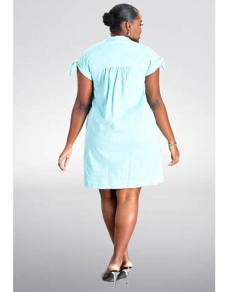 KARTER- Cap Sleeve Shirt Dress