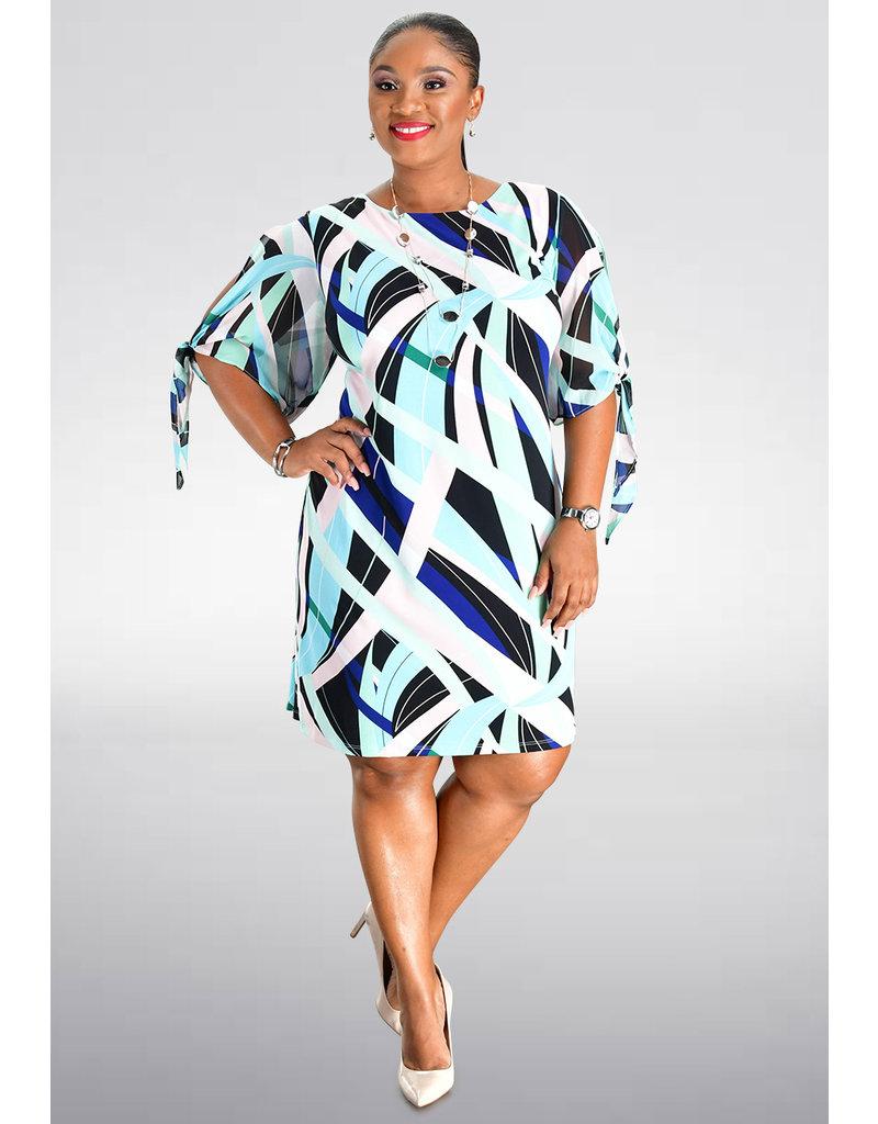 Sandra Darren IMAGY- Printed Shift Short Sleeve Dress