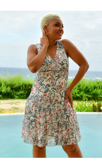 FINACY- Printed Low Waist Dress