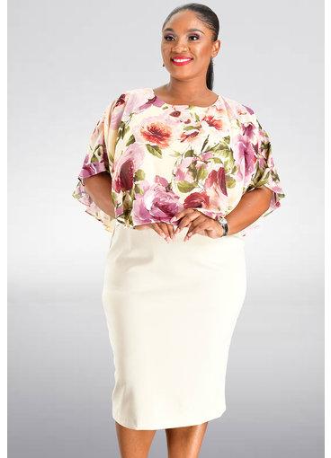 INDRE- Floral Print Capelet Dress