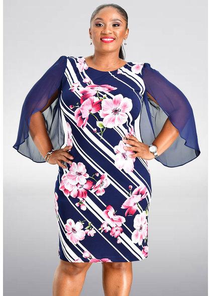 ISEDA- Printed Three Quarter Sleeve Dress