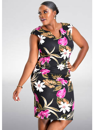 URSLE- Floral Printed V-Neck Sheath Dress