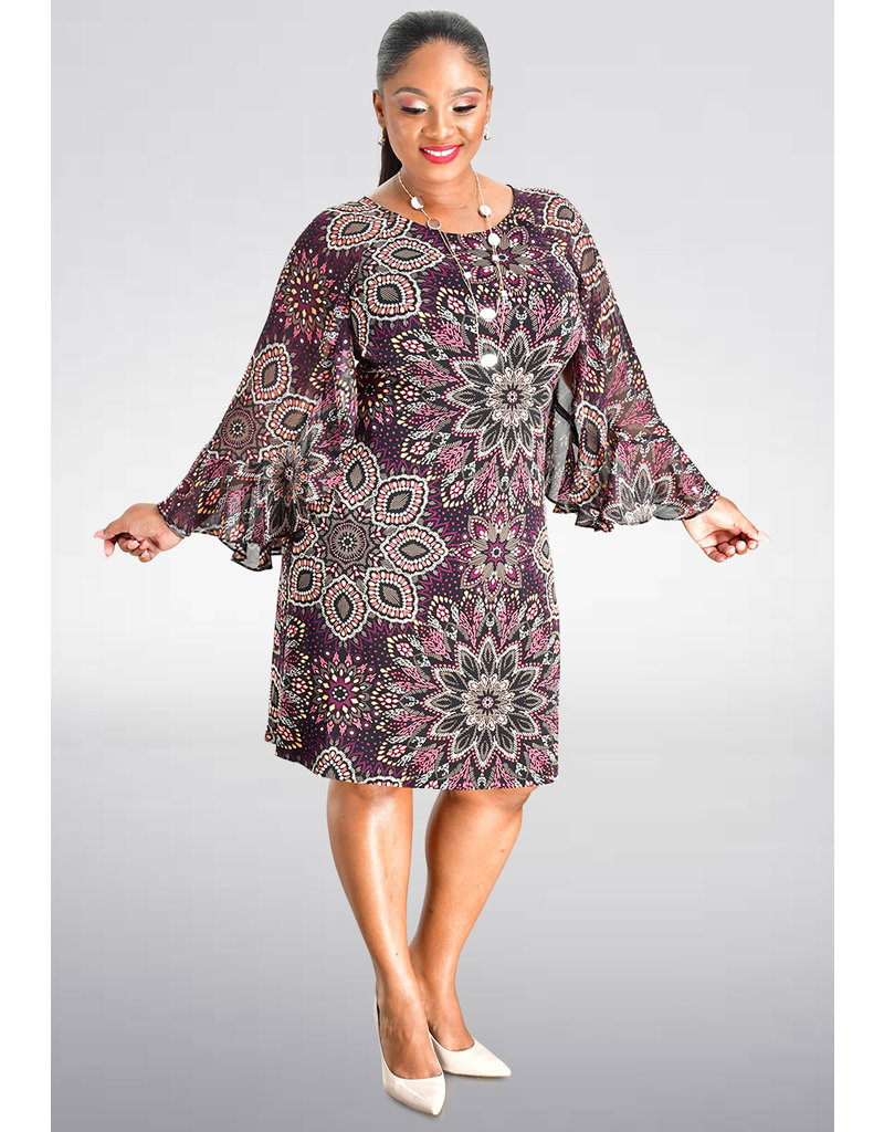 FABIANN- Floral Print Bell Sleeve Dress