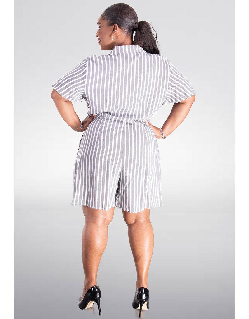 MSK KENLANI- Stripe Short Sleeve Tuxedo Romper