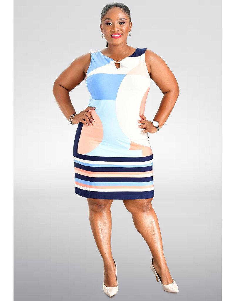 Sandra Darren IGANN- Printed Dress with Gold Hardware