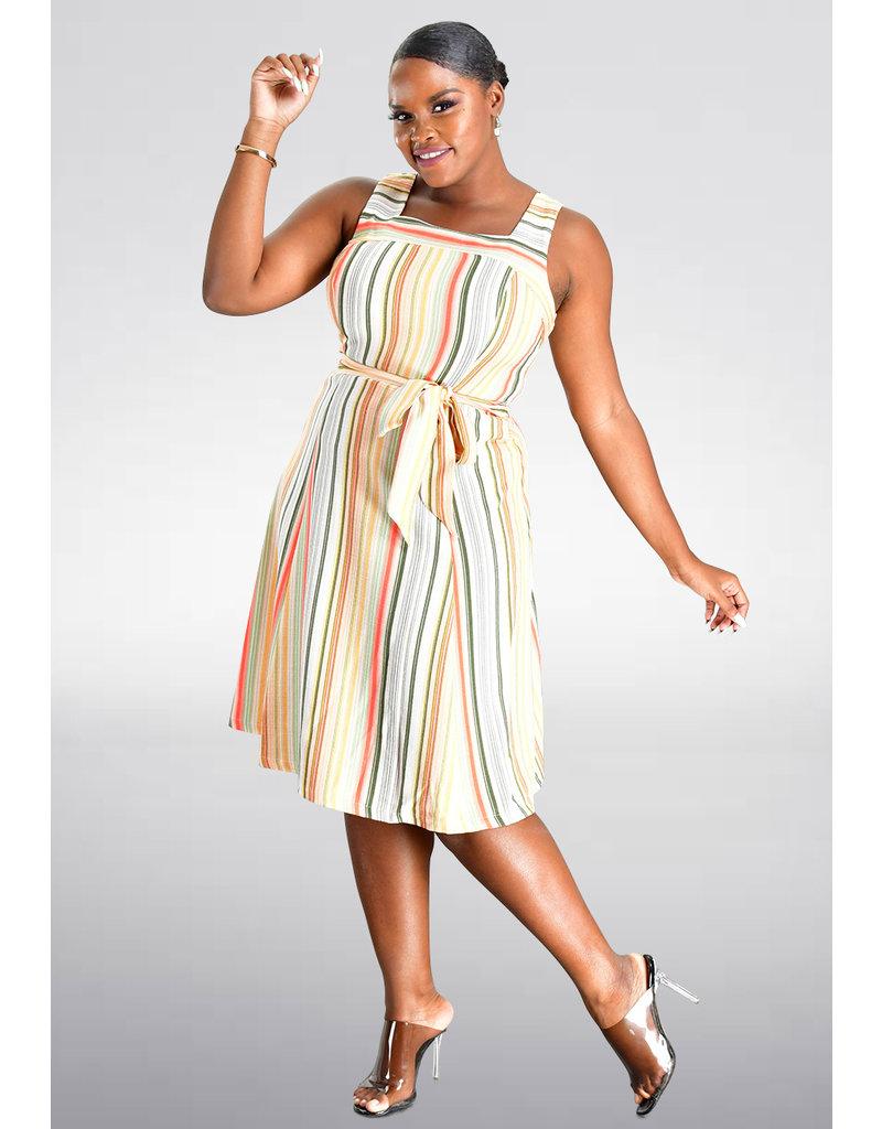 Sandra Darren KELZ- Strappy Striped Fit and Flare Dress