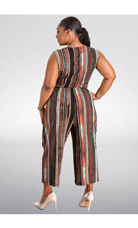 YOEL- Striped Print Jumpsuit