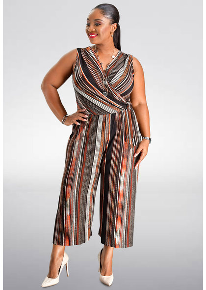 YOEL- Striped Print Jumpsuit