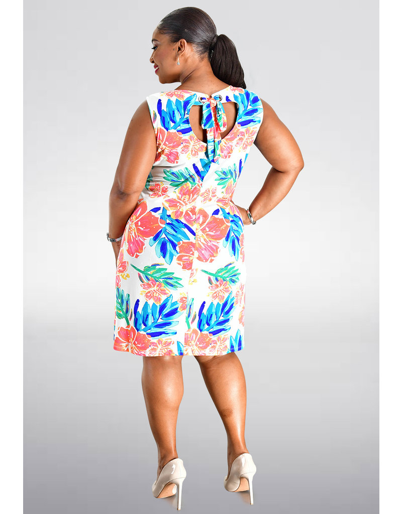 MSK YAMANI- Printed Dress with key hole at the back