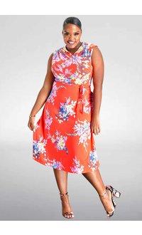Julia Jordan YURR- Printed Fit and Flare Dress
