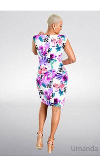 UMANDA- Printed Cap Sleeve Dress