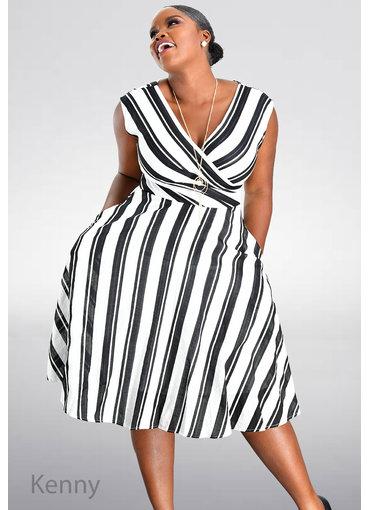 Maison Tara KENNY- Striped Fit and Flare Dress