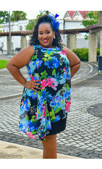 FAUSTINE- Plus Size Asymmetrical Chiffon Overlay Dress