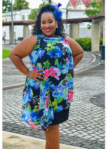 FAUSTINE- Plus Size Asymmetrical Chiffon Overlay Dress