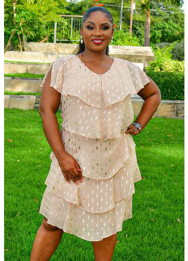 FELICIDAD- Foil Short Sleeve Shutter Dress