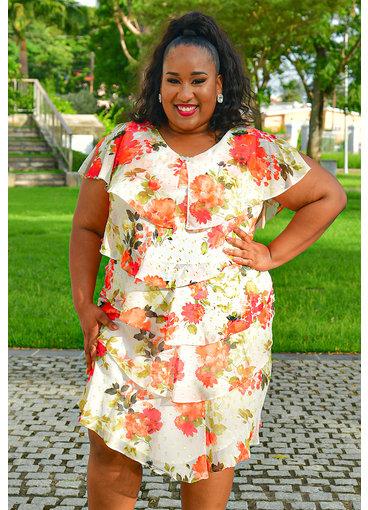 FELICIDAD- Plus Size V-Neck Floral Print Shutter Dress