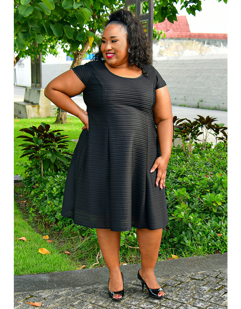 MISHA- Plus Size Fit and Flare Cap Sleeve Dress with Lines