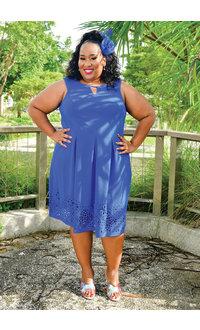 Jessica Howard EDEN- Plus Size Fit & Flare Keyhole Dress