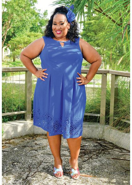 Jessica Howard EDEN- Plus Size Fit & Flare Keyhole Dress