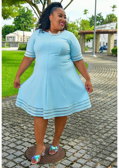 Jessica Howard RESALU- Plus Size Fit & Flare Net Strip Hem Dress