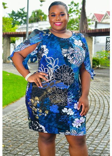 YESIA- Plus Size Printed Dress with Sheer 3/4 Sleeves