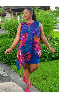 FAUSTINE- Printed Sleeveless Dress